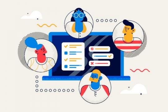 扁平插画风格正在网上协同办公的职场人士图片免抠矢量图素材
