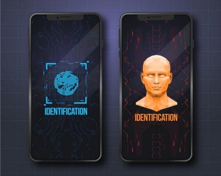 手机脸部识别和指纹识别技术图片免抠矢量素材