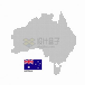 黑色圆点组成的澳大利亚地图和国旗图案png图片素材