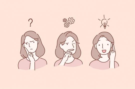 从疑惑到解决问题的女孩手绘插画图片免抠素材