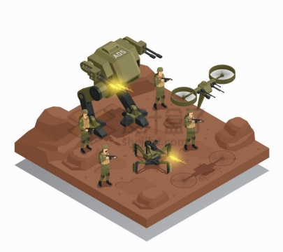 2.5D风格战斗中的士兵和机器人战士png图片免抠矢量素材