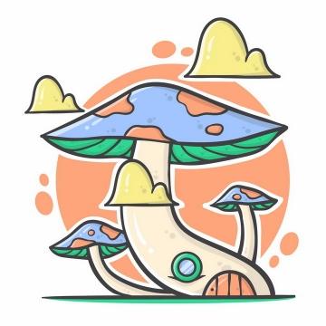 MBE风格卡通蘑菇png图片免抠矢量素材