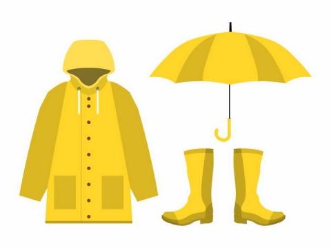 黄色的雨衣雨伞和雨靴png图片免抠eps矢量素材