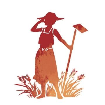 在田中拿着锄头的农民劳动节剪影图片素材