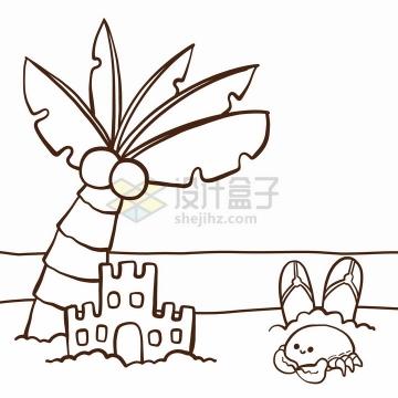 海滩上的椰树简笔画儿童插画png图片免抠矢量素材