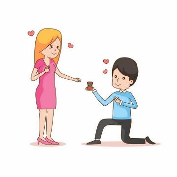 单膝下跪正在向女友求婚送戒指的卡通男孩png图片免抠矢量素材