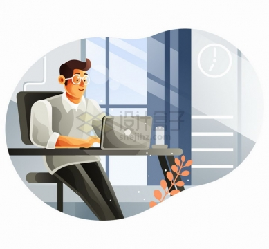 在办公室里工作的商务人士扁平插画png图片免抠矢量素材