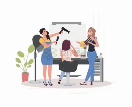 美容院里正在给客户化妆的美容师扁平插画png图片免抠矢量素材