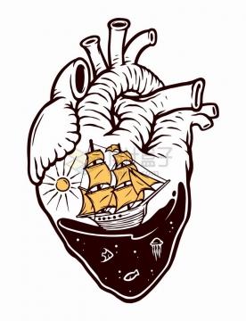 抽象心脏中的大海和帆船手绘插画png图片免抠矢量素材