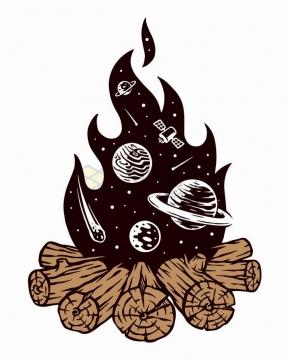 抽象燃烧篝火中的宇宙星球手绘插画png图片免抠矢量素材