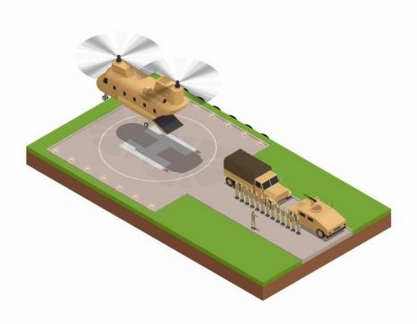 2.5D风格正在降落的支奴干直升机军事装备png图片免抠矢量素材