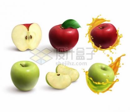 切开的红苹果青苹果和果汁装饰970493png矢量图片素材
