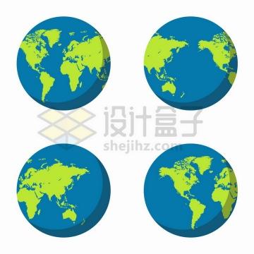 4个不同角度的扁平化地球模型png图片免抠矢量素材