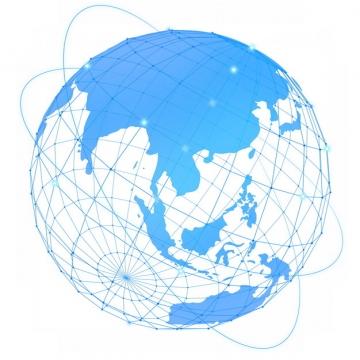 蓝色经纬线科技风格地球和卫星轨迹161233图片素材