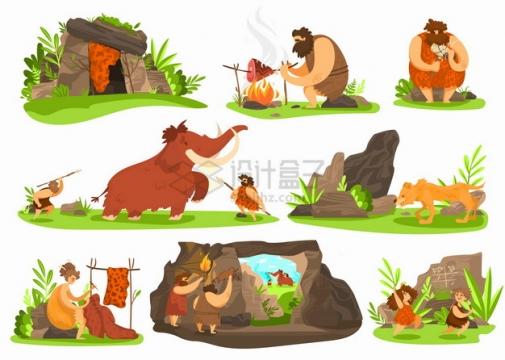 卡通原始人穴居人的洞穴捕猎猛犸象做兽皮衣服等png图片素材