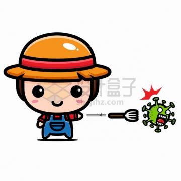 超可爱卡通农民用叉子攻击新型冠状病毒png图片素材