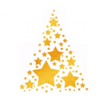 金色五角星手绘星星组成的圣诞树装饰929092PSD免抠图片素材