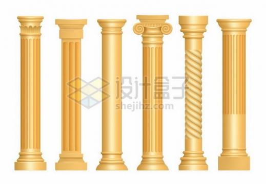 6款金色古罗马柱子石柱833245png图片素材