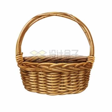 藤蔓编制的竹篮提篮篮子png图片素材