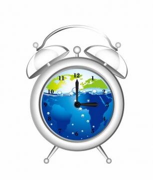 半透明的闹钟里面有地球世界地图和蓝色液体png图片免抠eps矢量素材