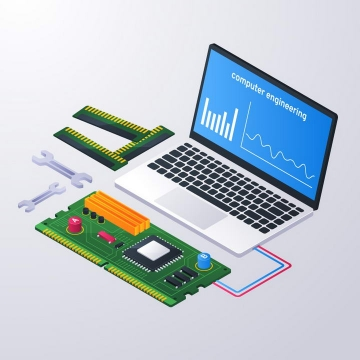 2.5D风格笔记本电脑测试电路板示意图免抠矢量图片素材