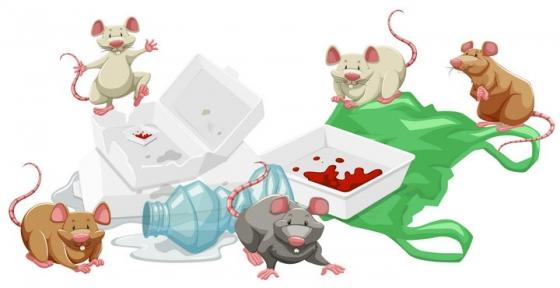 正在吃垃圾的一群卡通老鼠保护环境图片免抠矢量图素材