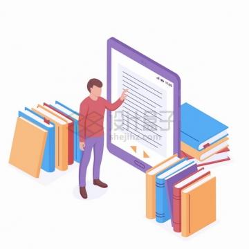2.5D风格平板电脑和书本网上书店网上读书png图片素材