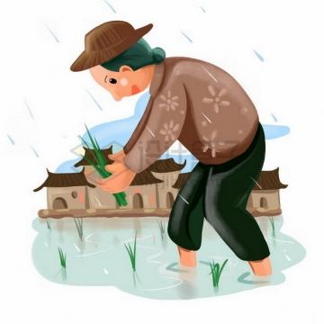 下雨天在田里插秧的农民png免抠图片素材