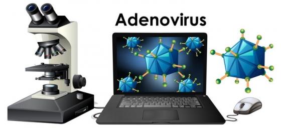 正在观察病毒的电子显微镜和笔记本电脑图片免抠矢量图素材