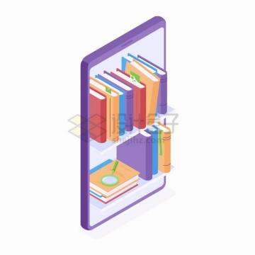 2.5D风格手机上的书本书架网上书店网上阅读png图片素材