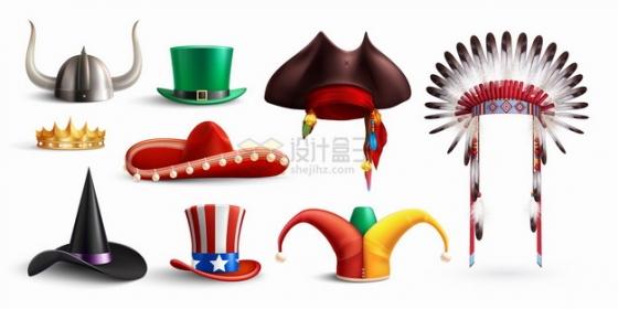 维京海盗牛角头盔魔术帽小丑帽印第安酋长帽子等png图片素材