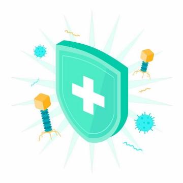 2.5D风格绿色盾牌和病毒噬菌体医疗医学png图片免抠矢量素材