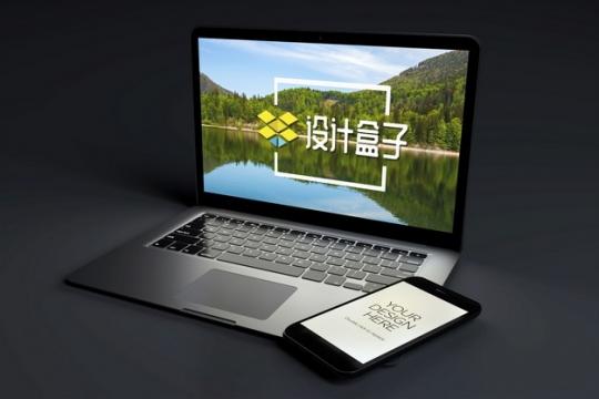 黑暗中的苹果MacBook Pro笔记本电脑和iPhone手机显示样机934146psd样机图片模板素材