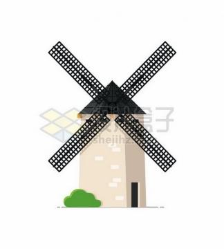 一座荷兰大风车扁平插画353460png矢量图片素材