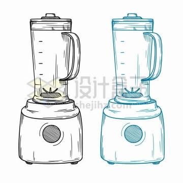 手绘素描风格榨汁机家用搅拌机研磨机厨房小电器png图片免抠矢量素材