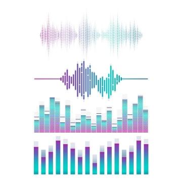 四款彩色音频声波均衡器图片免抠素材