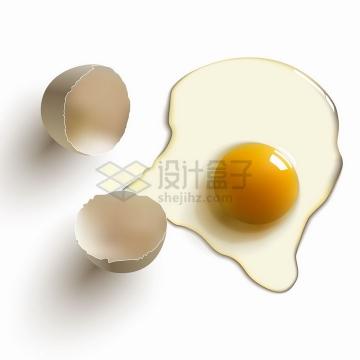 打碎的鸡蛋和流出来的蛋清蛋黄美味美食png图片免抠矢量素材