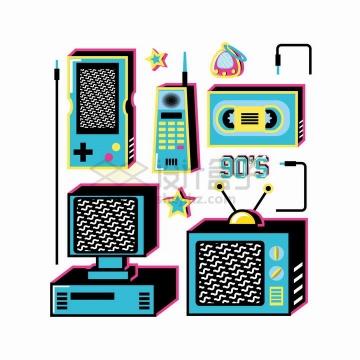 孟菲斯风格复古游戏机对讲机电视机电脑等png图片免抠矢量素材