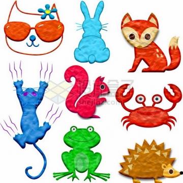 橡皮泥手工制作可爱动物之小猫兔子护理松鼠螃蟹青蛙刺猬等png图片素材