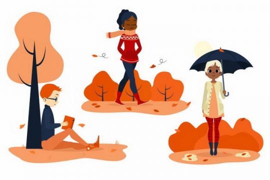扁平插画风格秋天里的男孩和女孩免抠图片素材