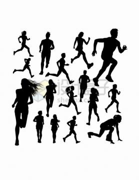 各种正在进行跑步运动的健身男女剪影png图片免抠矢量素材