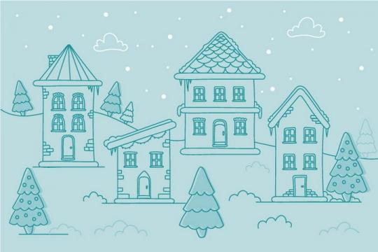 绿色线条风格冬天乡村小镇的房子图片免抠矢量图素材