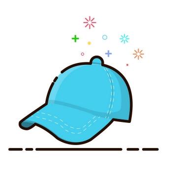 MBE风格蓝色的鸭舌帽帽子图片免抠素材