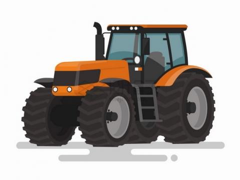 橙色的卡通拖拉机扁平插画png图片免抠矢量素材