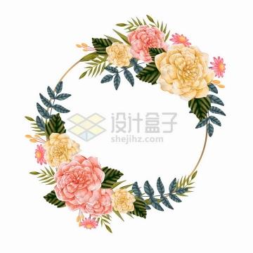 红色黄色玫瑰花等花朵组成的婚礼花环文本框标题框png图片免抠矢量素材