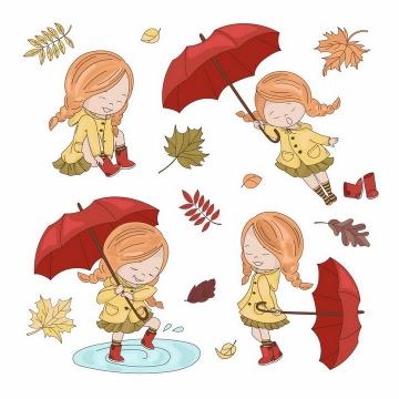 秋天里打着红色雨伞的卡通小女孩png图片免抠eps矢量素材