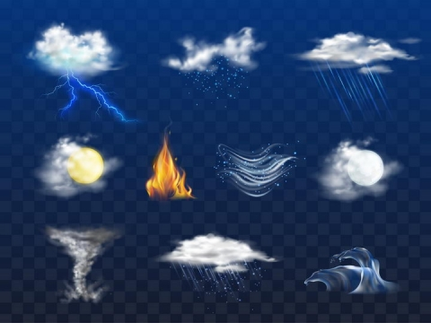 各种拟真的带闪电的云朵和下雨的白云天气预报图片免抠矢量素材