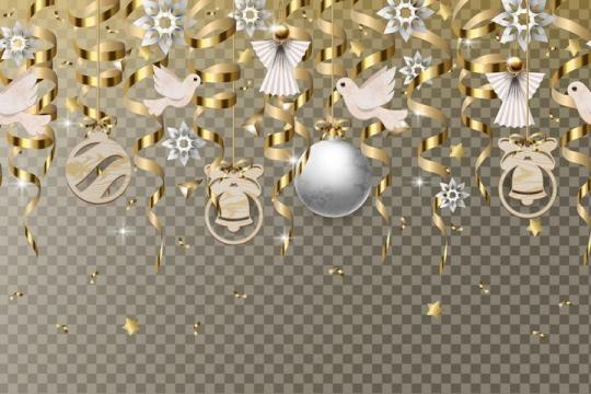 金色飘带圣诞球挂饰图片免抠矢量图素材