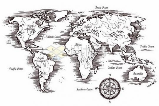复古涂鸦手绘风格世界地图489533png矢量图片素材