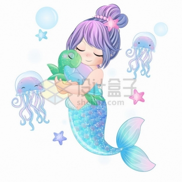 可爱卡通美人鱼抱着海龟手绘插画png图片素材